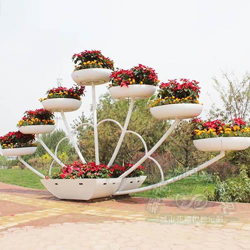 顺风张帆花架,园林景观提升,大型户外花架,立体花箱,铁艺花坛