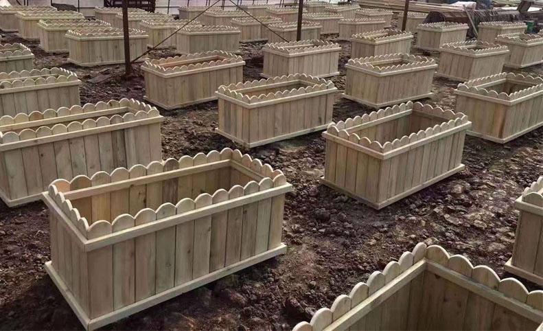户外景观木制花箱制作流程和功能