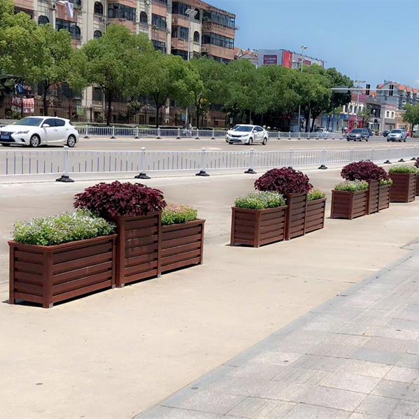 红橡木纹条形框道路花箱