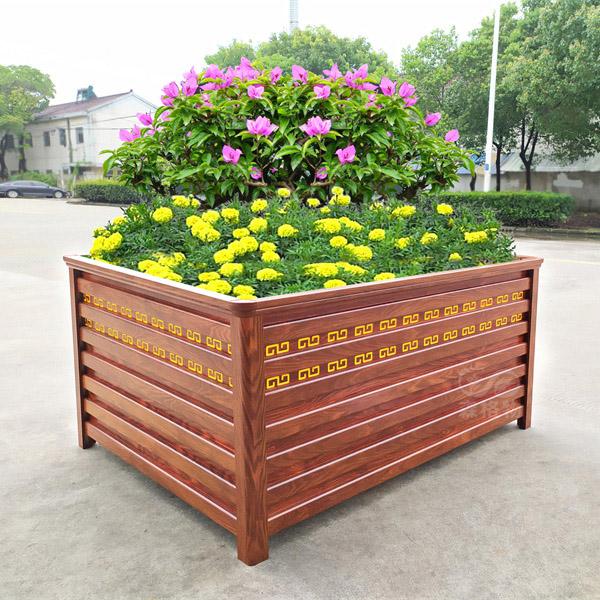 红橡木纹公园铝合金花箱