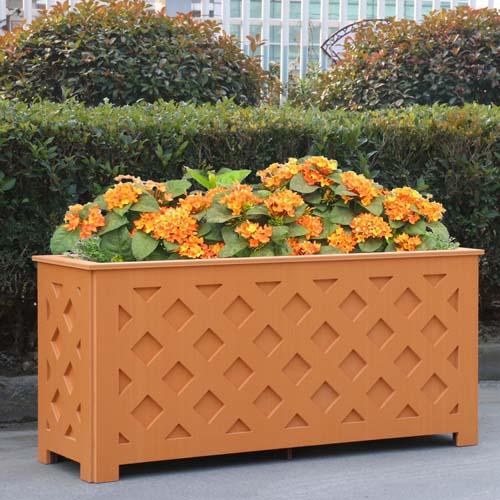 橘黄色网格pvc花箱
