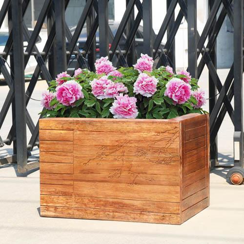 菠萝格雕花高档花箱