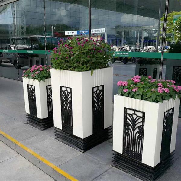 黑白洛克PVC组合花箱