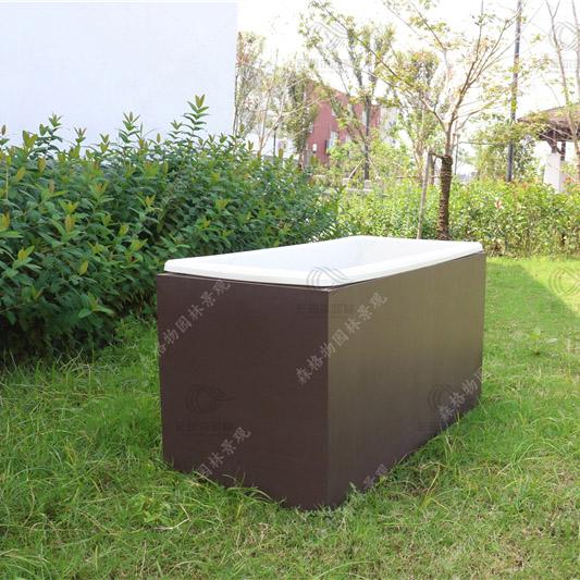 咖色方形钣金花箱