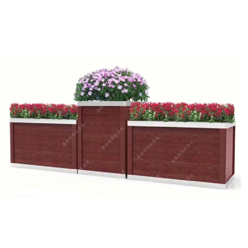 红橡木纹不锈钢花箱