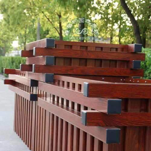 仿木纹铝合金道路花箱