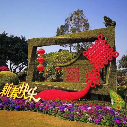 街头节日绿植雕塑立体花坛