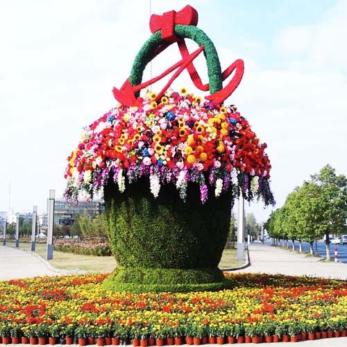 花篮绿雕立体花坛