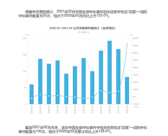"""花箱中标项目信息 2021年2月""""花箱""""情况统计"""