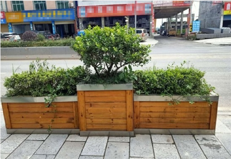 防腐木花箱主要分为两部分,一是防腐木花箱内框,二是防腐木花箱木条。